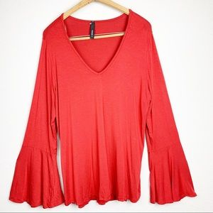 Yahada Red Bell Sleeve V-Neck Top XL